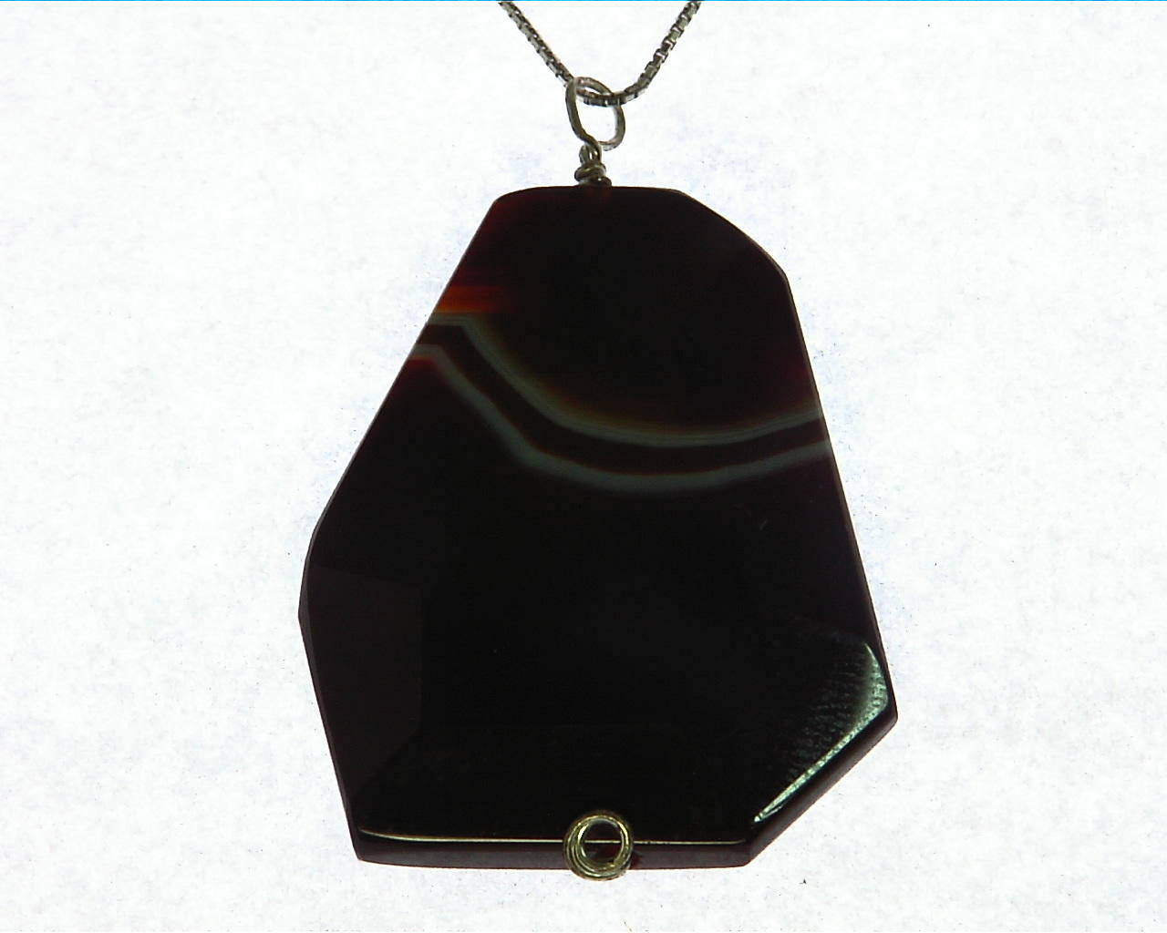 Agate Natural Genuine Gemstone Sterling Silver Pendent PSS,1002