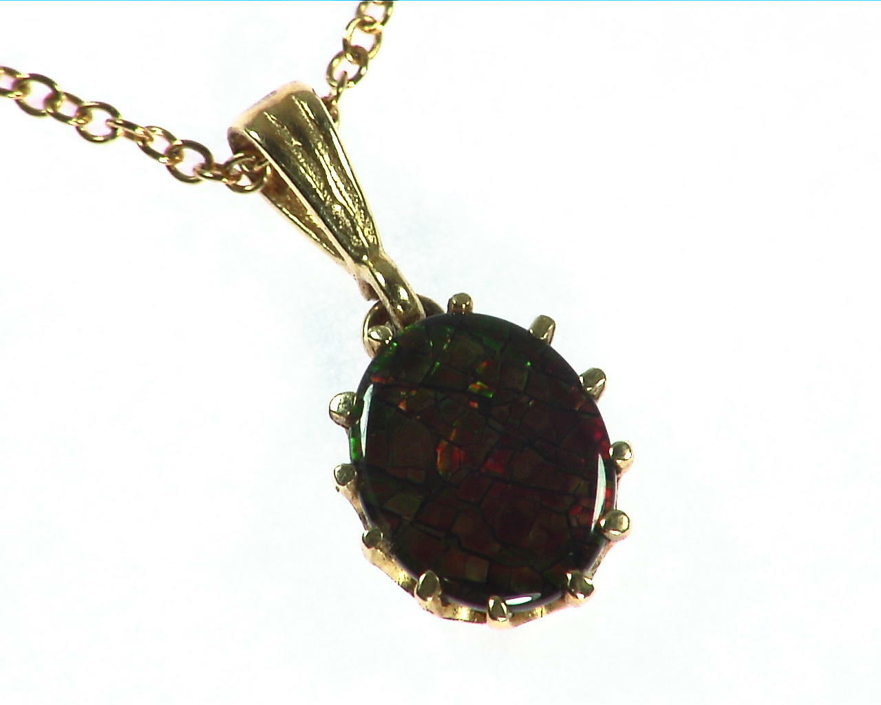Ammolite Pendent in 14 kt Yellow Gold NFG,932