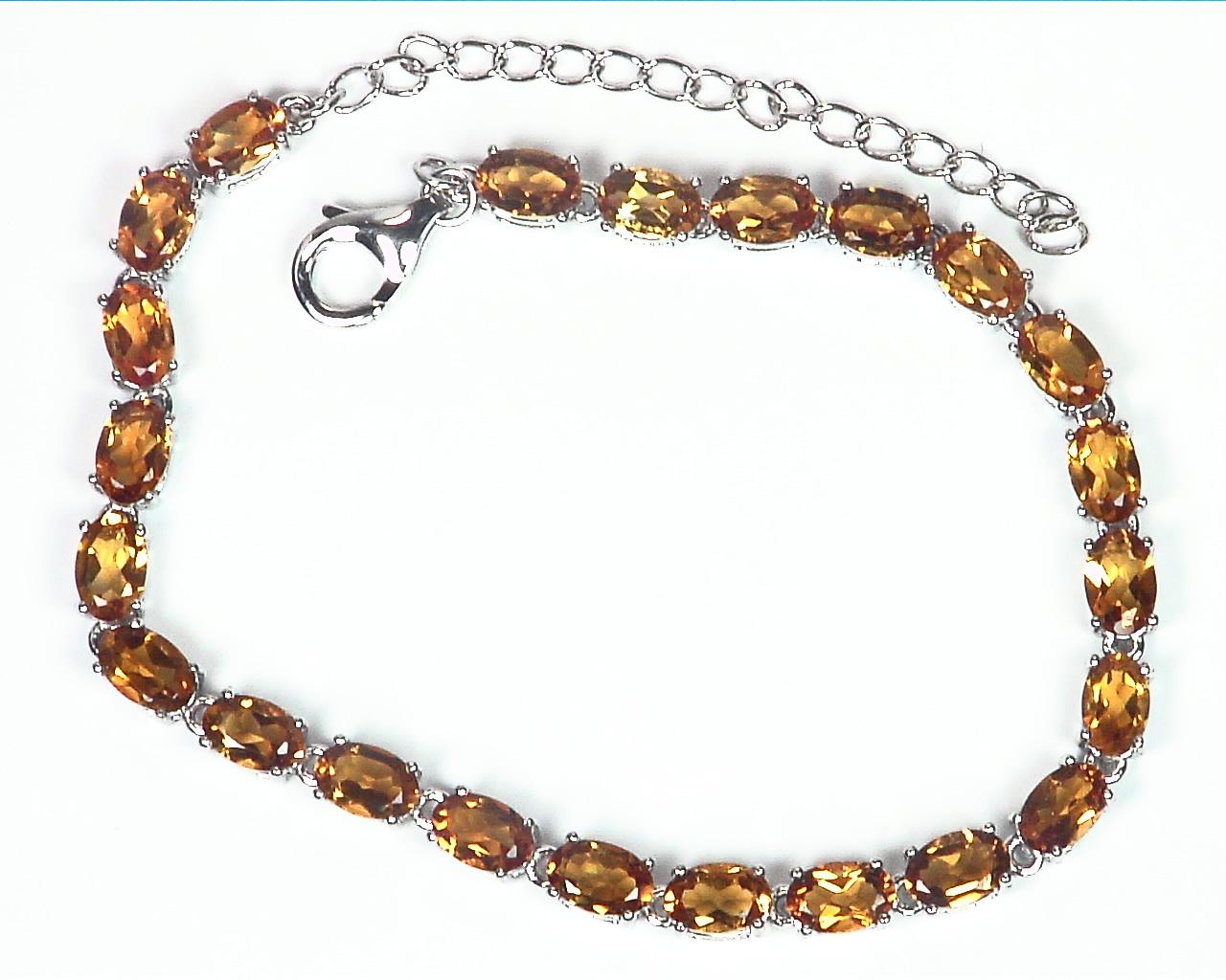 Citrine Genuine Gemstone Sterling Silver Bracelet BR,787