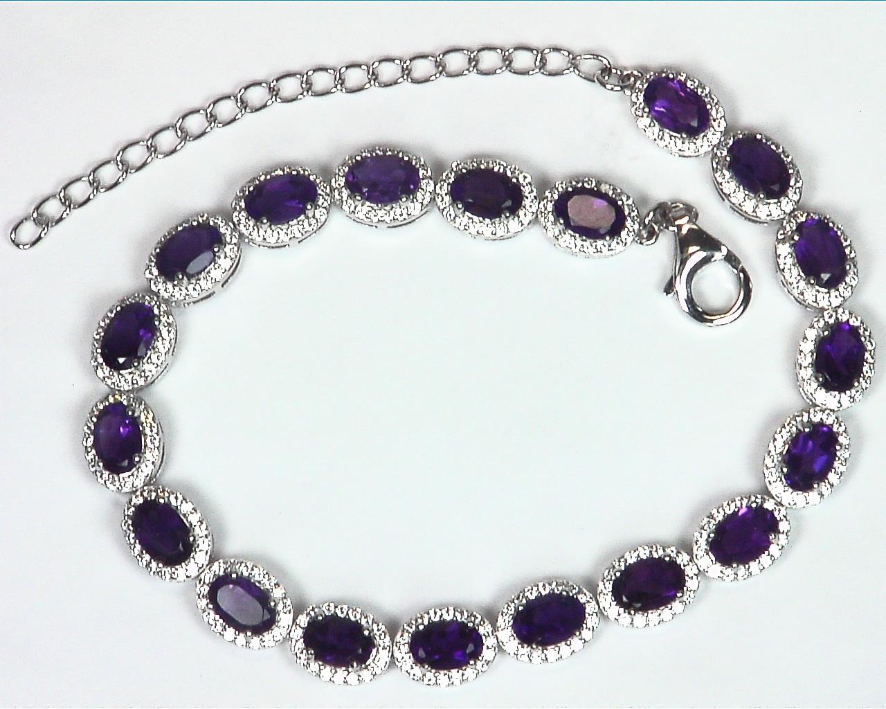 Amethyst Natural Genuine Gemstone Sterling Silver Bracelet BR, 788