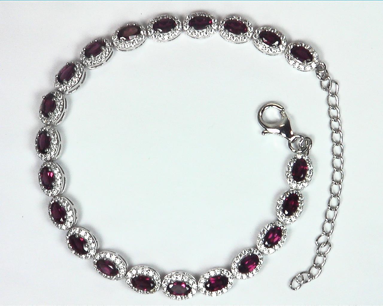 Garnet Natural Genuine Gemstone Bracelet Set in Sterling Silver BR,789