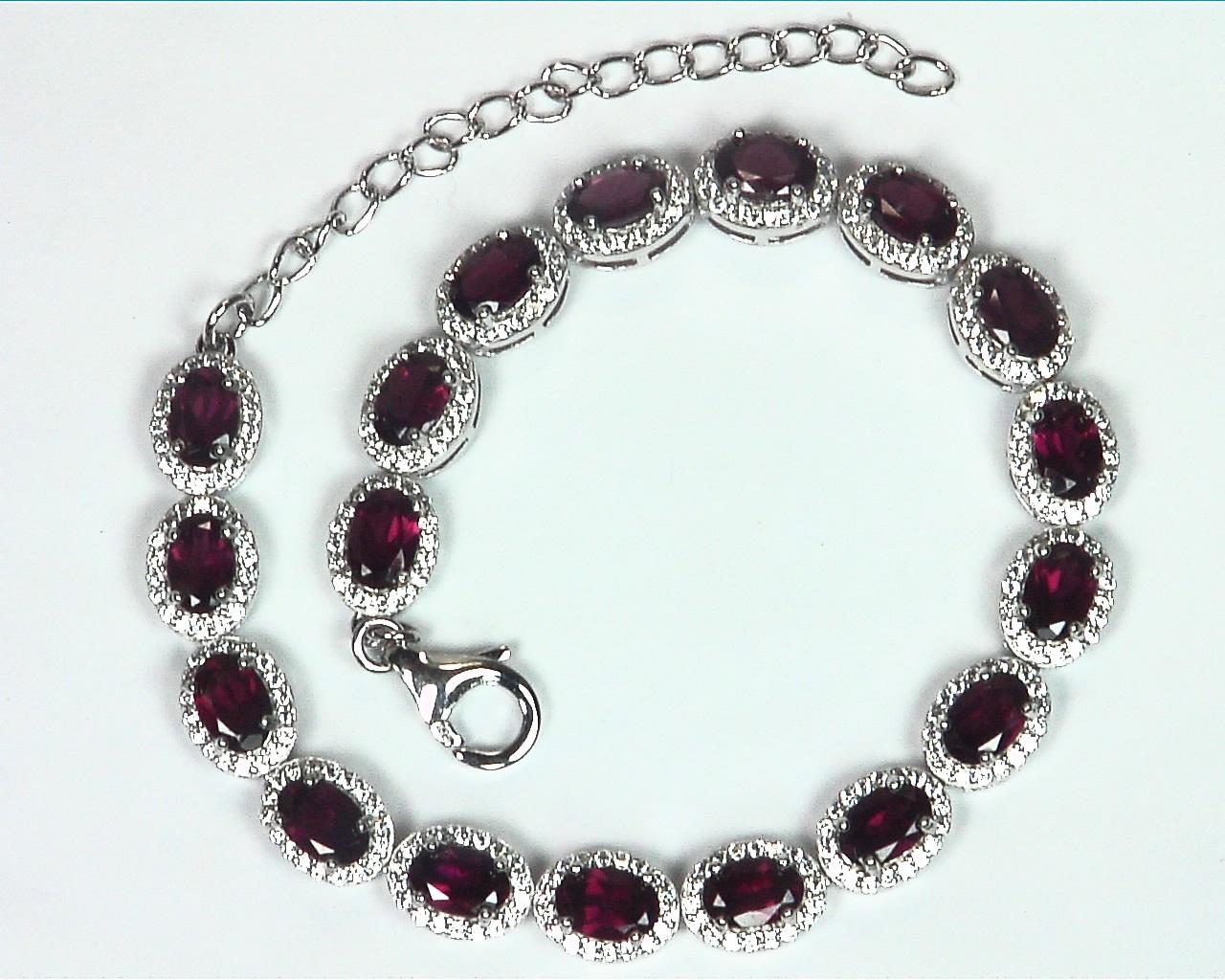 Garnet Natural Genuine Gemstone Bracelet Set in Sterling Silver BR,790