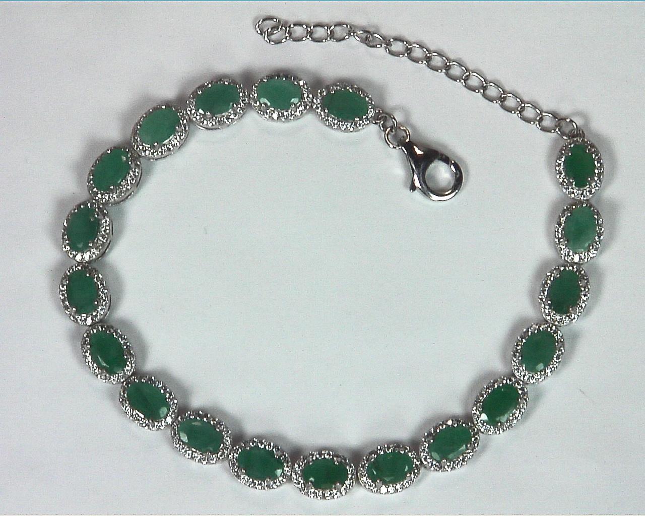 Emerald Natural Genuine Gemstone Bracelet in Sterling Silver BR,791