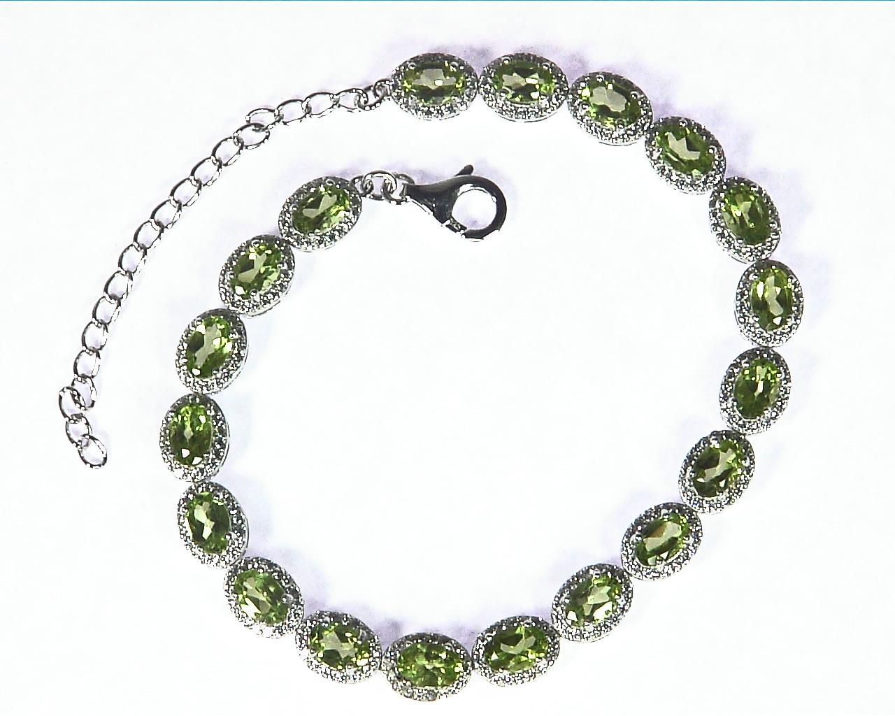 Peridot Natural Genuine Sterling Silver Bracelet, BR,792