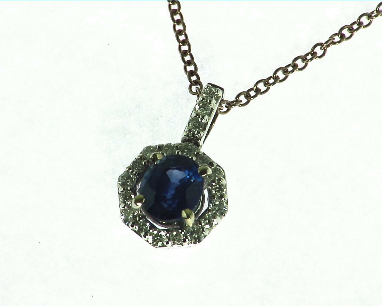Blue Sapphire Diamond Pendent 6
