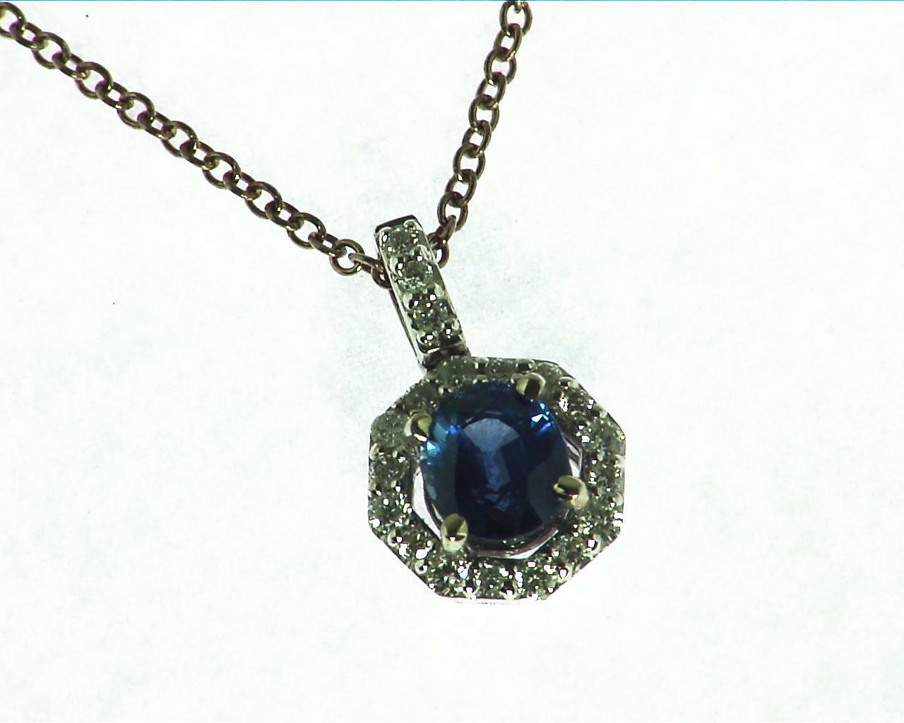 Blue Sapphire Diamond Pendent 5