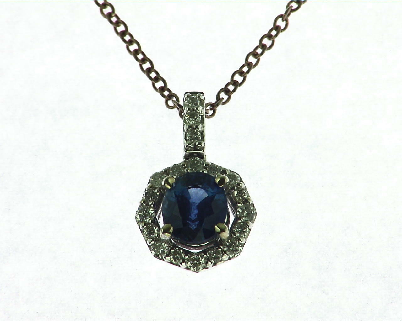 Blue Sapphire Diamond Pendent 4