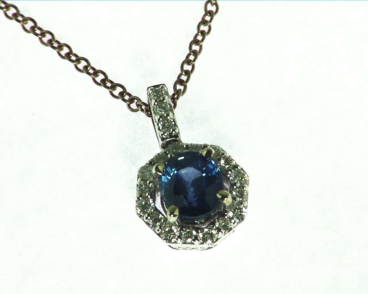 Blue Sapphire Diamond Pendent 3