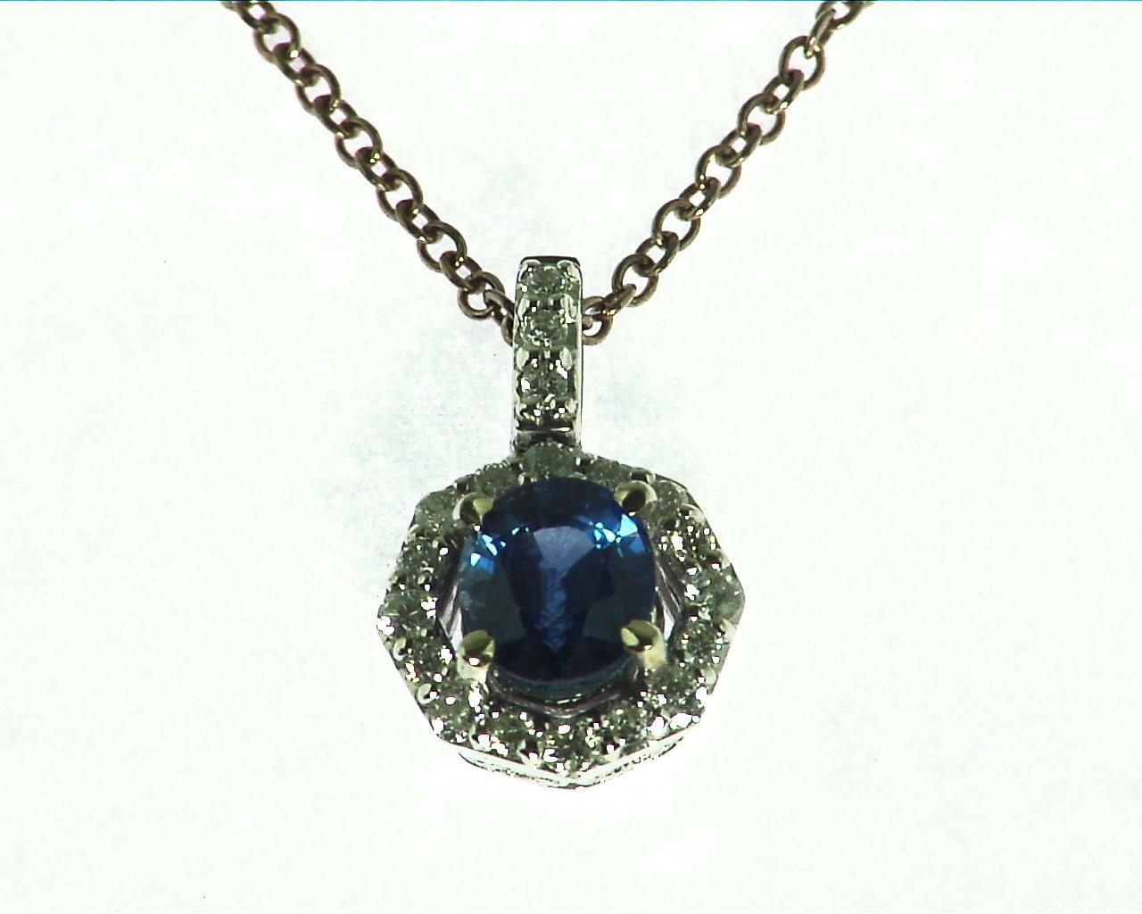 Blue Sapphire Diamond Pendent