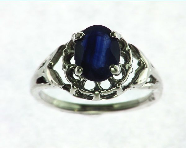 Blue Ceylon Sapphire Set in Sterling Silver Ring 2