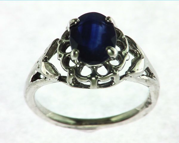 Blue Ceylon Sapphire Set in Sterling Silver Ring 5