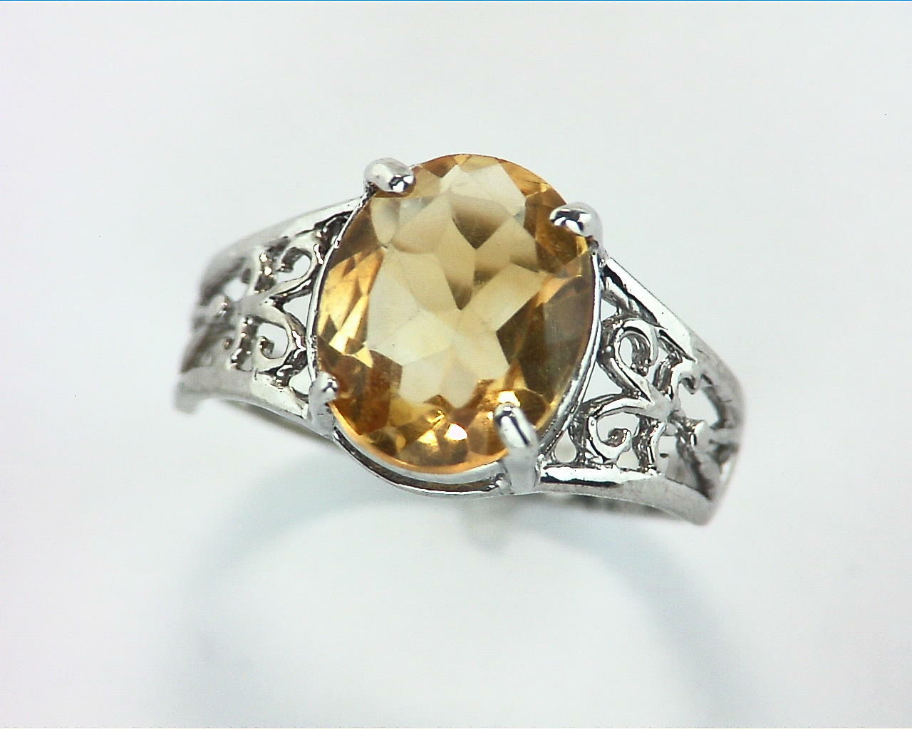 Citrine Gemstone In A Sterling Silver Ring