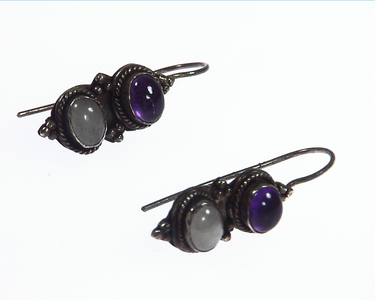 Amethyst and White Quartz Sterling Silver Earrings ESS,806