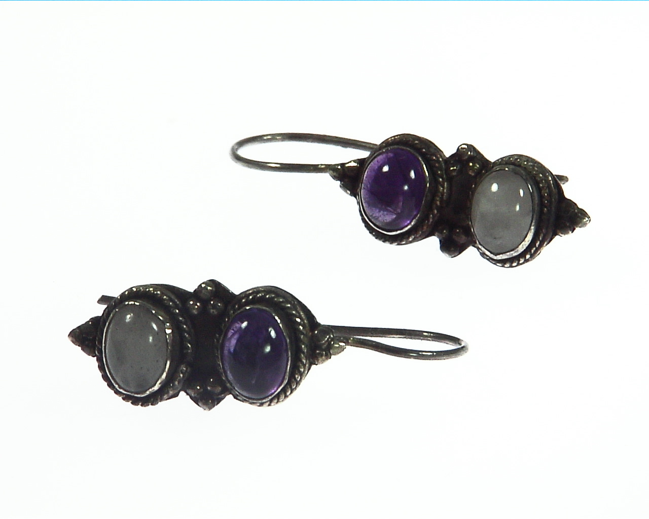 Amethyst and White Quartz Sterling Silver Earrings ESS,806 4