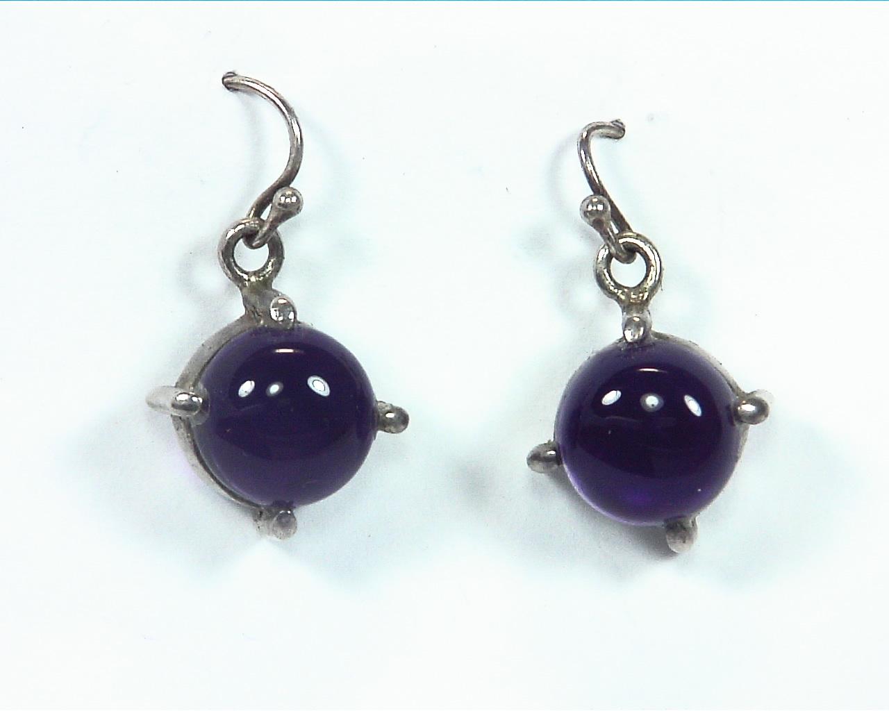 Amethyst cabochon Sterling silver drop earrings ESS,829 6