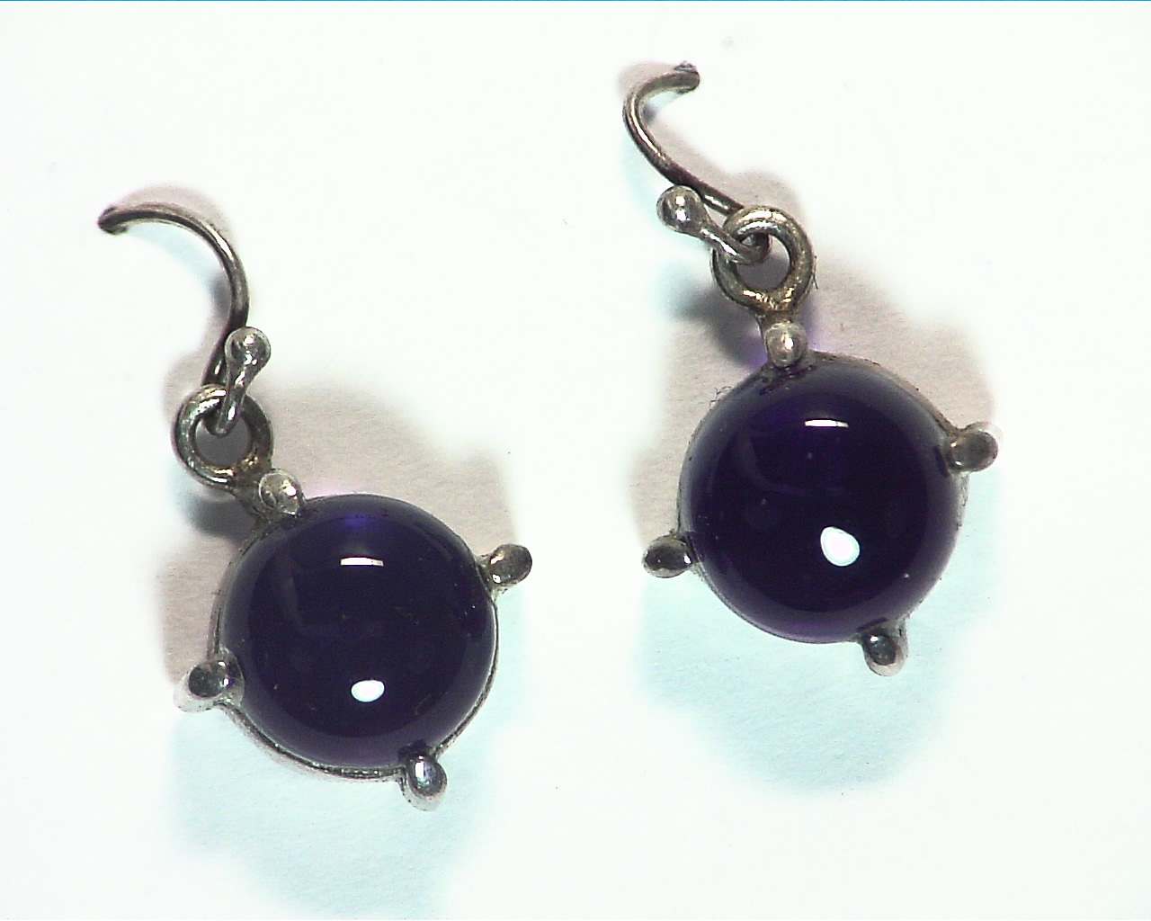 Amethyst cabochon Sterling silver drop earrings ESS,829