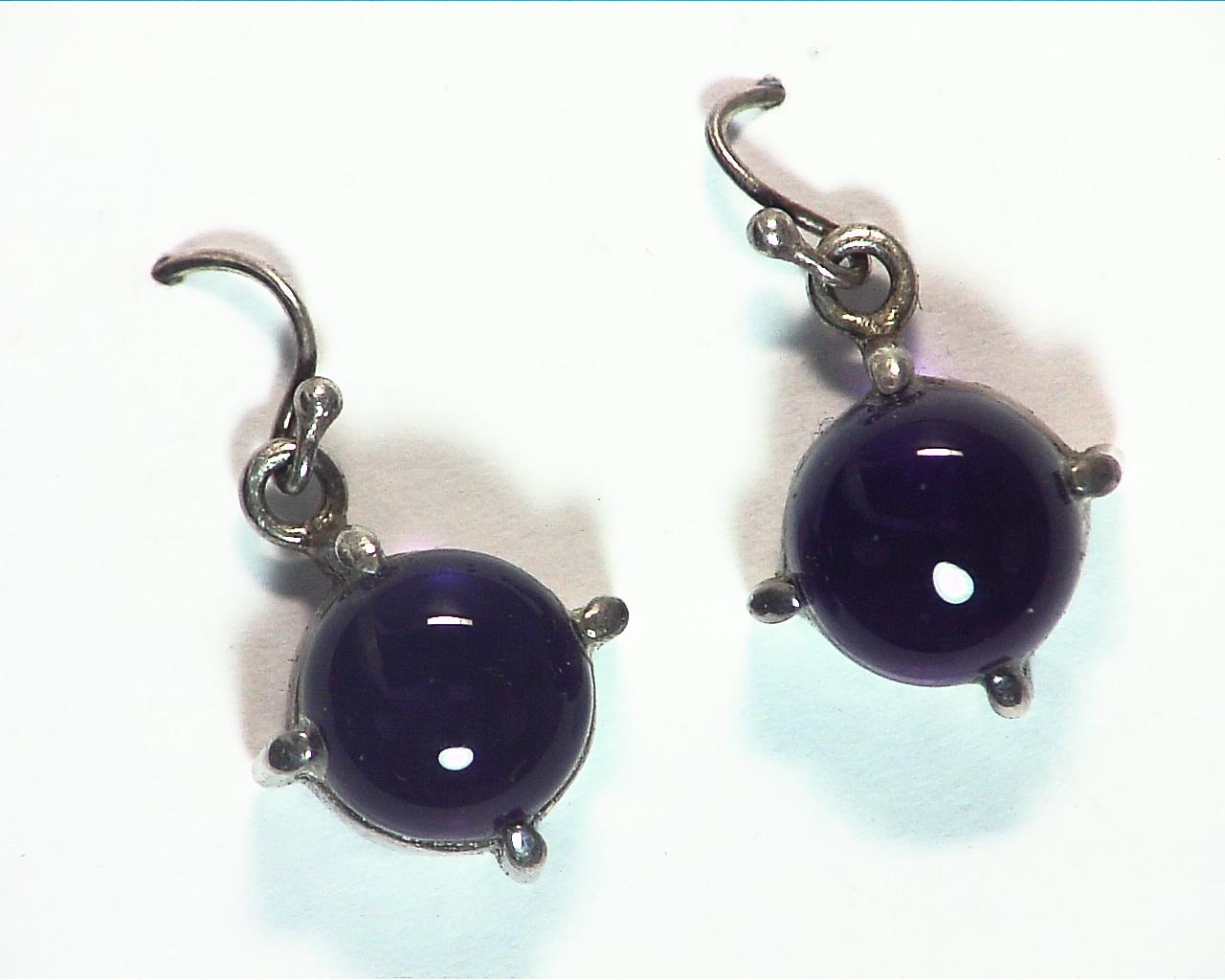 Amethyst cabochon Sterling silver drop earrings ESS,829 5
