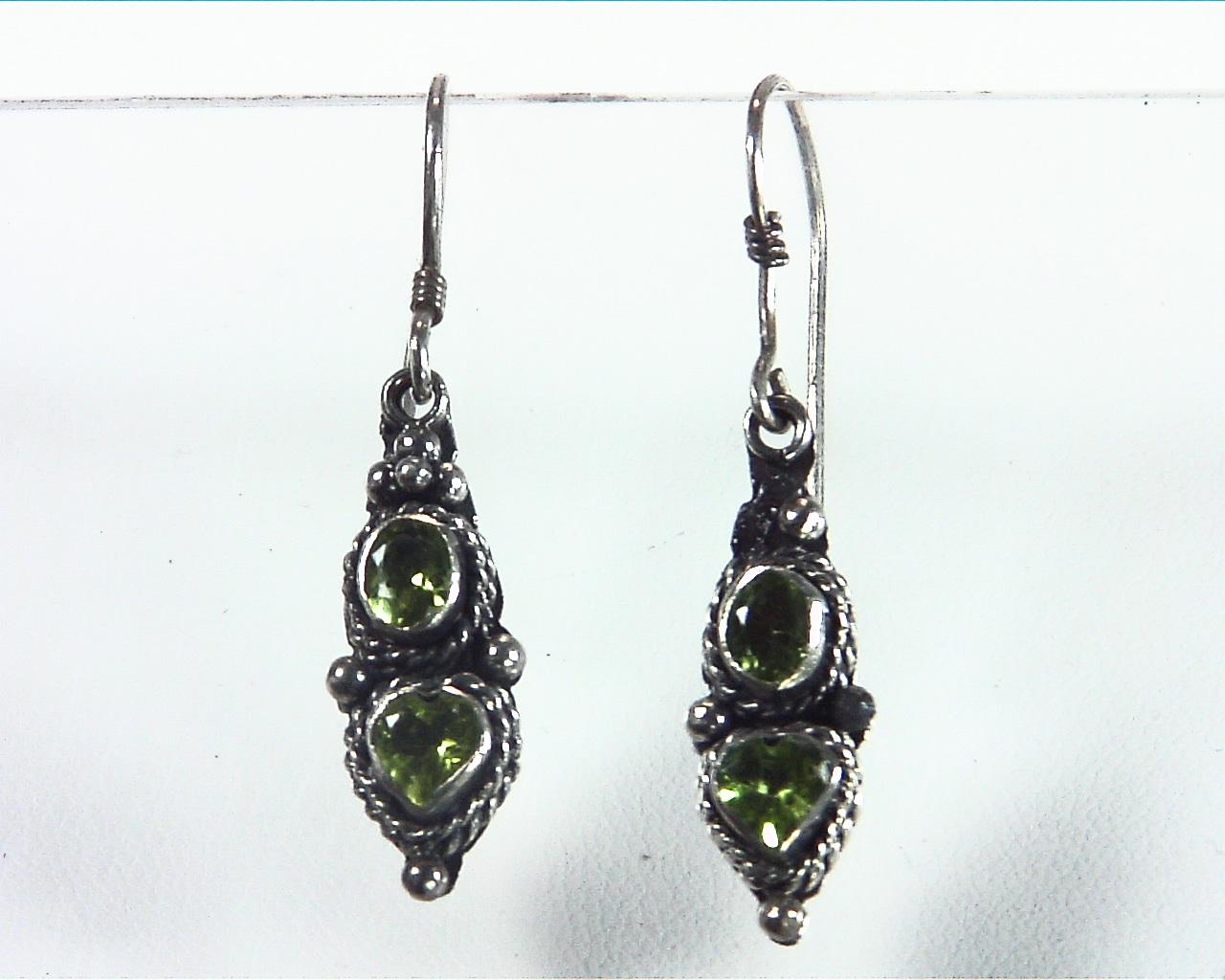 Peridot Natural Genuine Gemstone Sterling Silver Earrings ESS,798 1