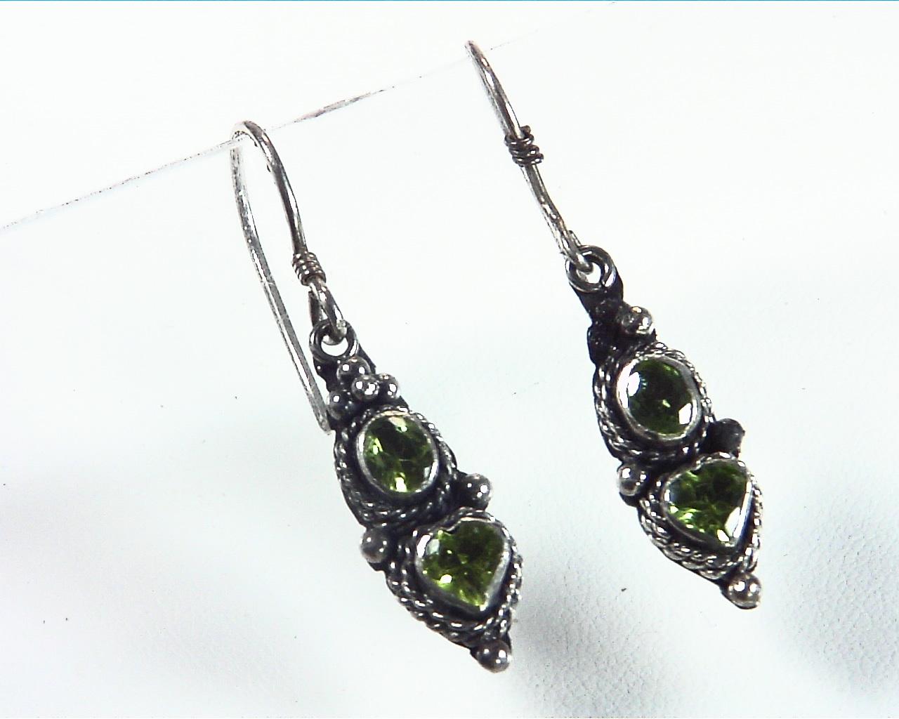 Peridot Natural Genuine Gemstone Sterling Silver Earrings ESS,798 2