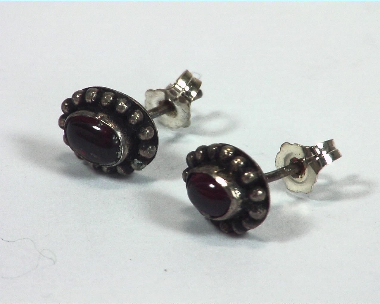 Garnet Natural Genuine Gems Stone Stud Earrings ESS,812 3