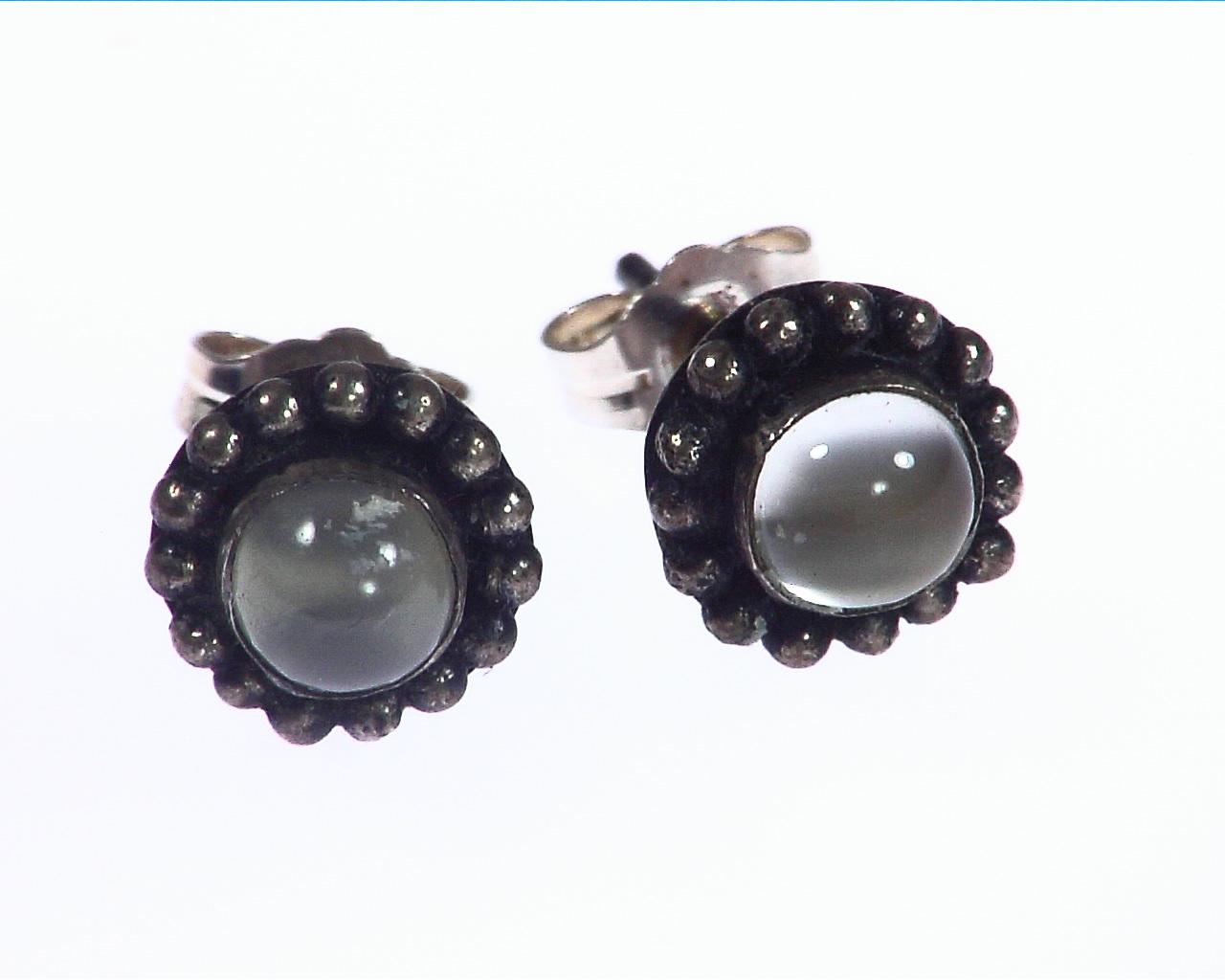 Moonstone Natural Genuine Gemstone Sterling Stud Earring, ESS,813