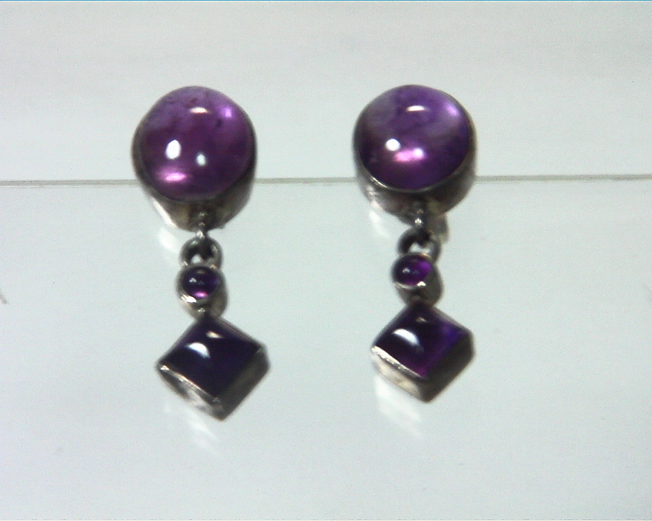Amethyst Cabochon Sterling Silver drop earrings ESS,831