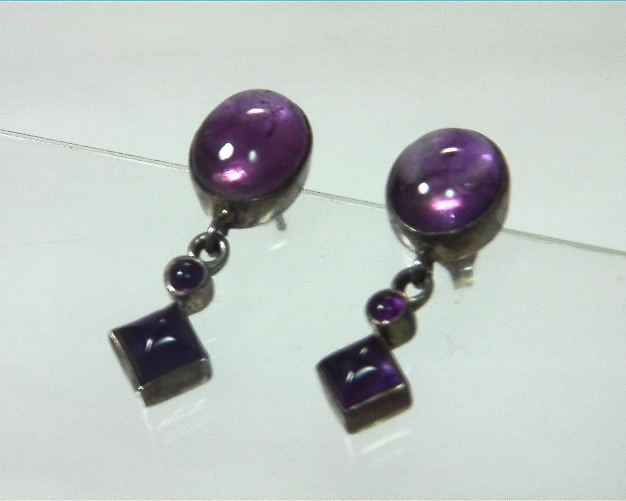 Amethyst Cabochon Sterling Silver drop earrings ESS,831 3
