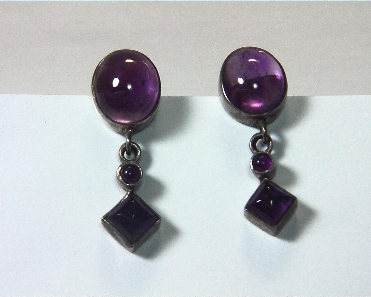 Amethyst Cabochon Sterling Silver drop earrings ESS,831 4