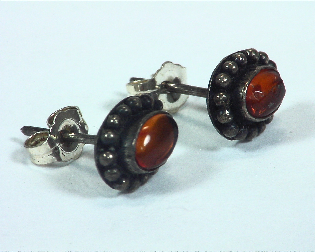 Amber Natural Genuine Sterling Silver Stud Earrings ESS,798