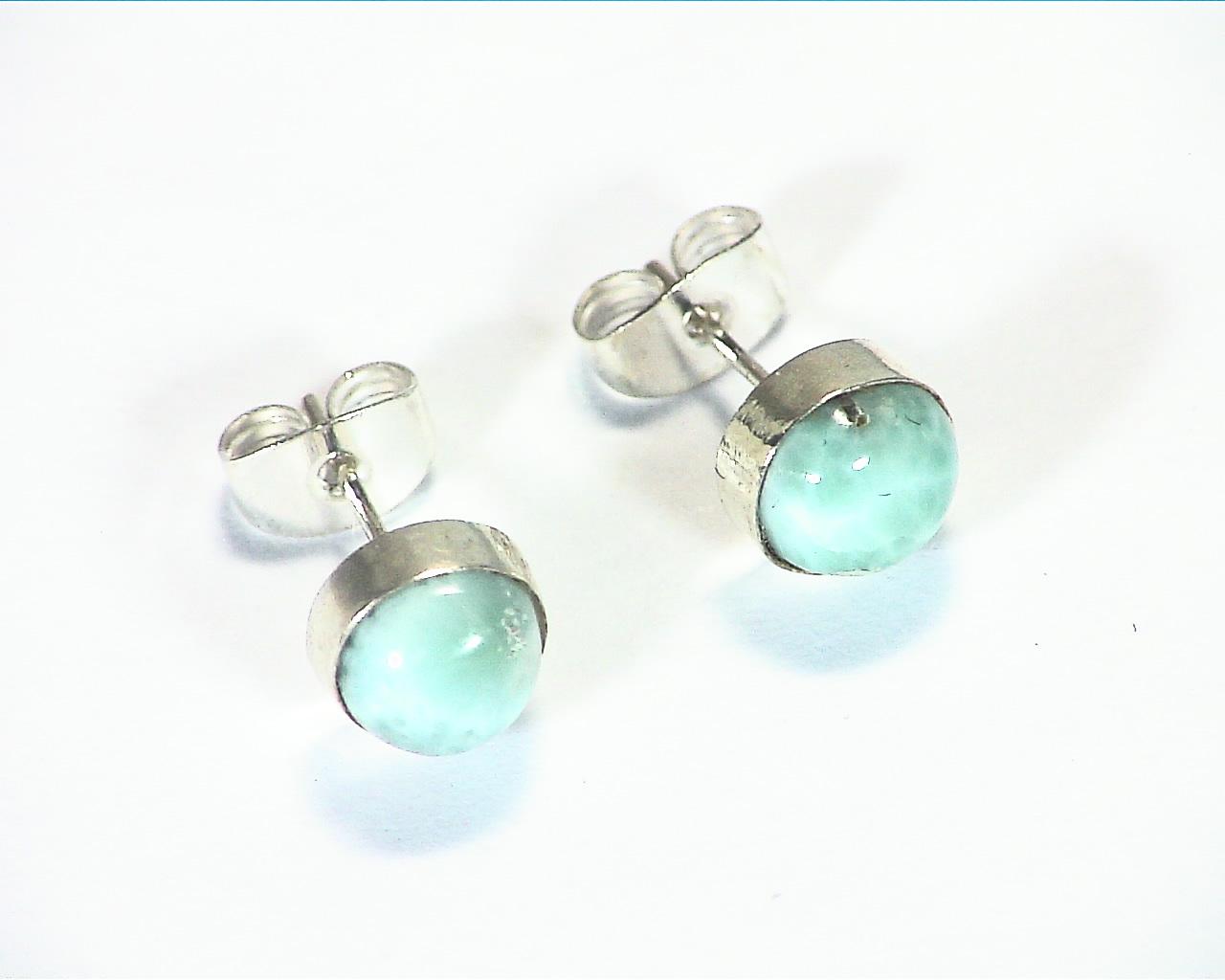 Larimar Natural Genuine sterling Silver Earrings ESS,853