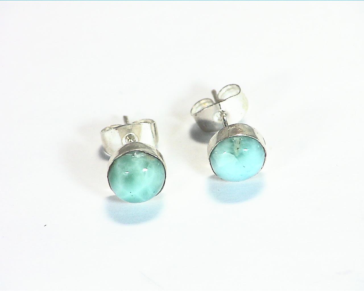 Larimar Natural Genuine sterling Silver Earrings ESS,854