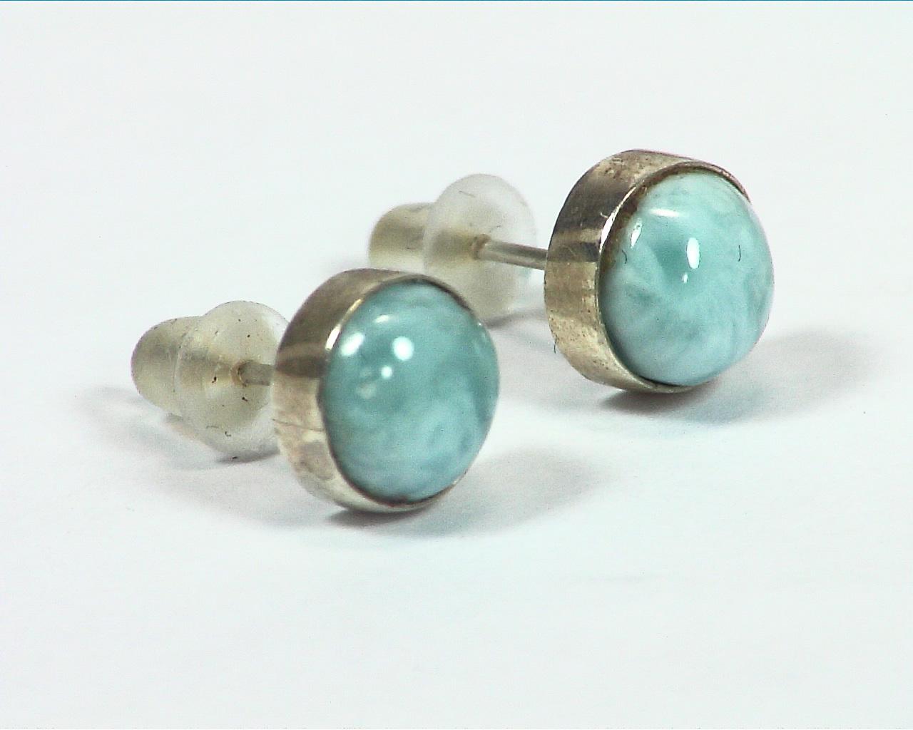Larimar Natural Genuine sterling Silver Earrings ESS,856