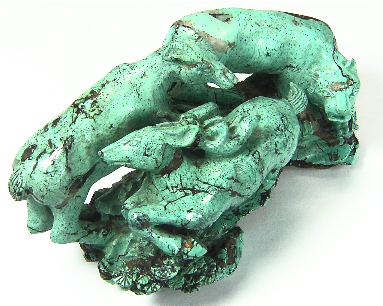 Turquoise Natural Genuine Gemstone Carved Lion Chasing a Bow in a Sculpture 1