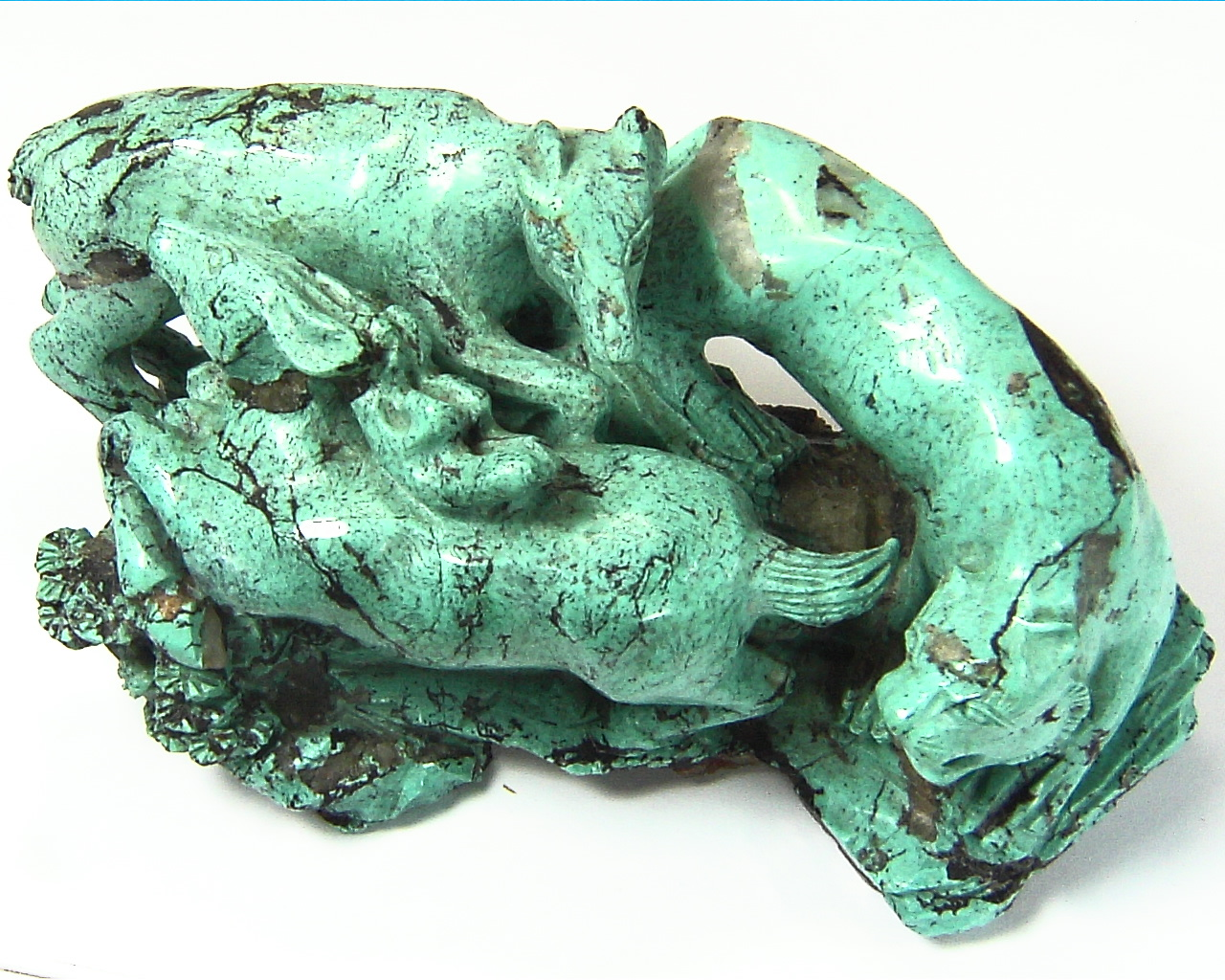 Turquoise Natural Genuine Gemstone Carved Lion Chasing a Bow in a Sculpture 2