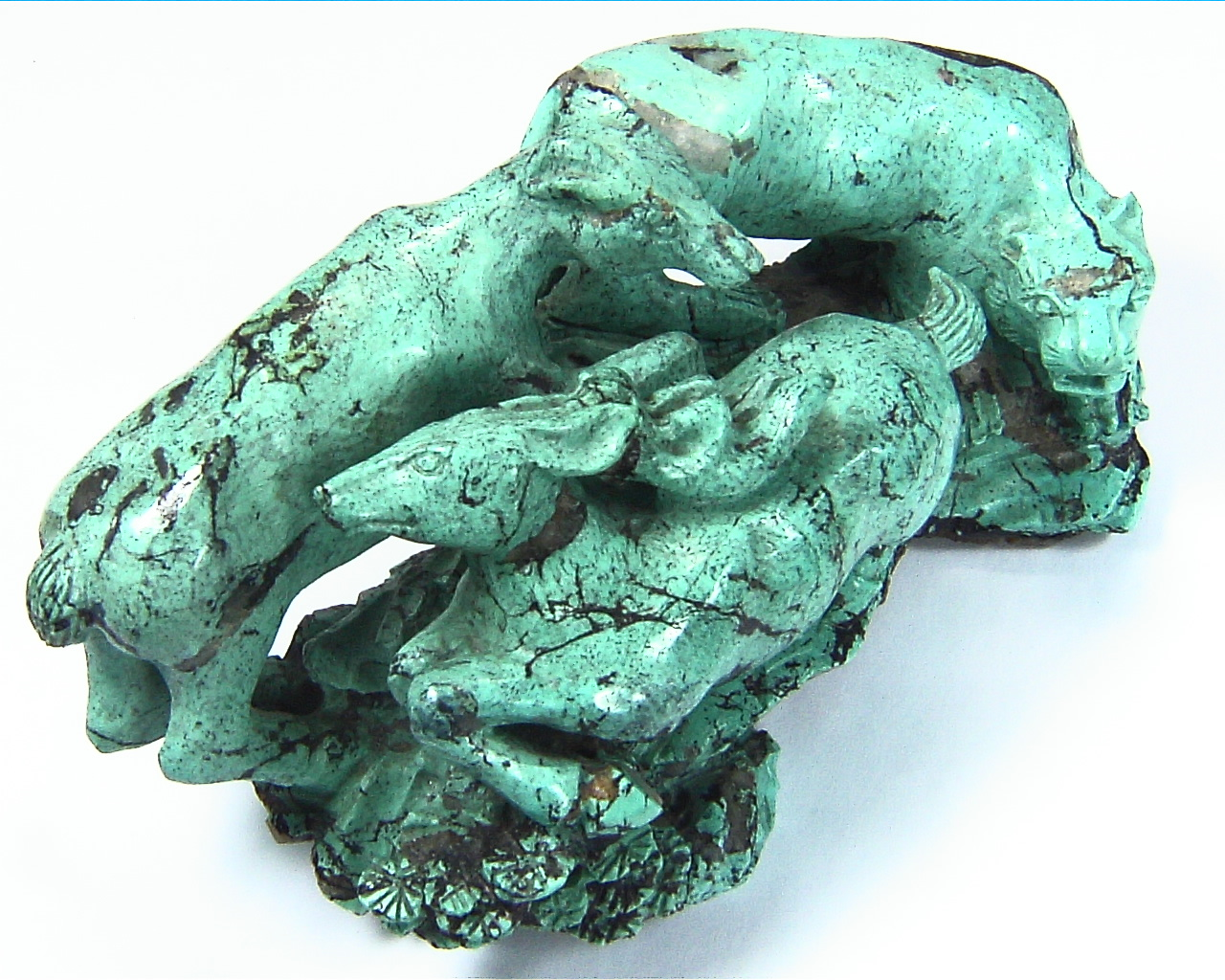 Turquoise Natural Genuine Gemstone Carved Lion Chasing a Bow in a Sculpture 4