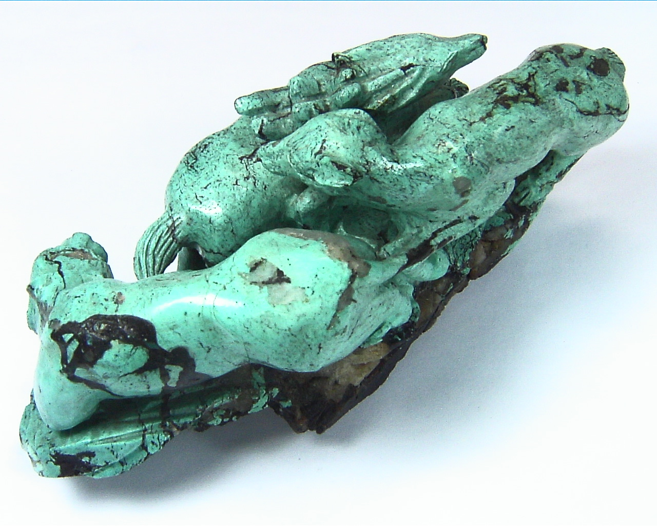 Turquoise Natural Genuine Gemstone Carved Lion Chasing a Bow in a Sculpture 5