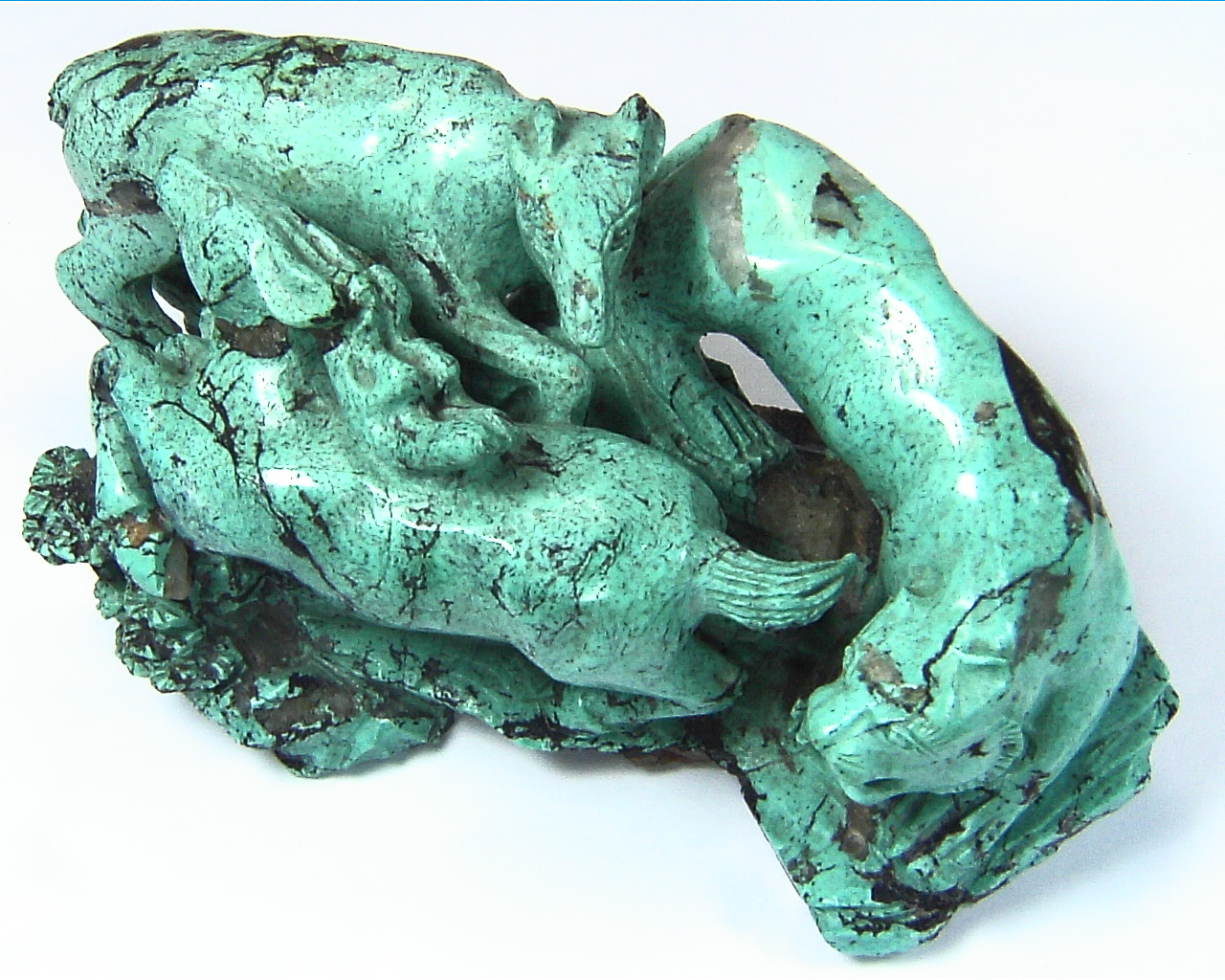 Turquoise Natural Genuine Gemstone Carved Lion Chasing a Bow in a Sculpture 6