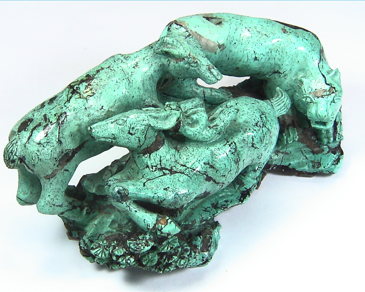 Turquoise Natural Genuine Gemstone Carved Lion Chasing a Bow in a Sculpture 8