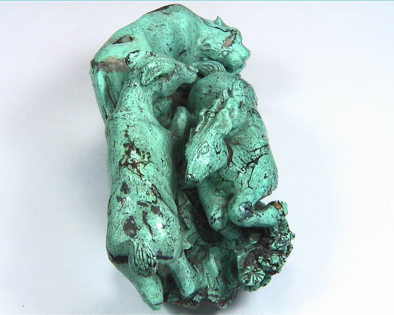 Turquoise Natural Genuine Gemstone Carved Lion Chasing a Bow in a Sculpture 9