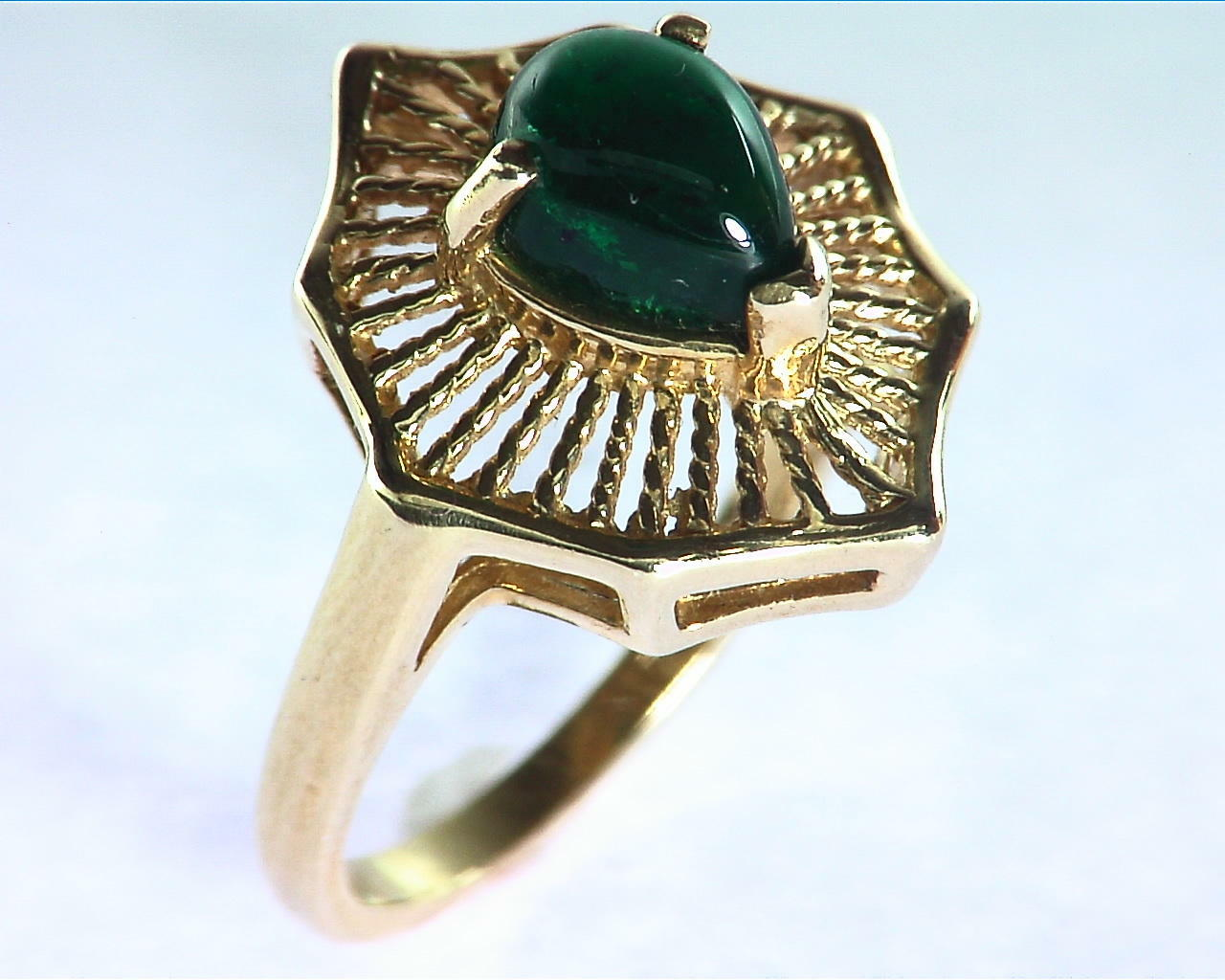 Emerald Engagement Ring in 14 kt Yellow Gold in a Beautiful Design RFK126 3