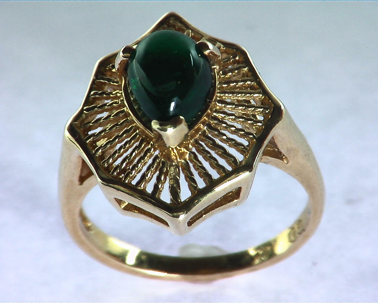 Emerald Engagement Ring in 14 kt Yellow Gold in a Beautiful Design RFK126 5
