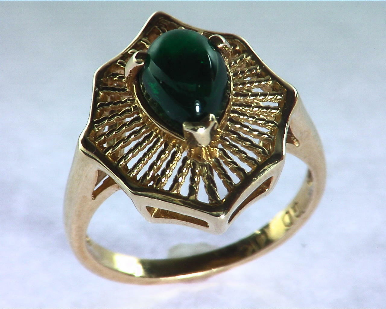Emerald Engagement Ring in 14 kt Yellow Gold in a Beautiful Design RFK126 6