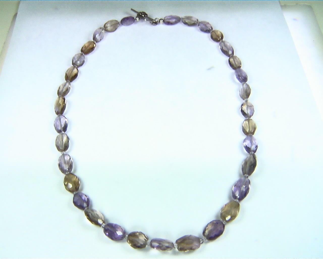 Ametrine Natural Genuine Gemstone Bead Necklace NBD,902