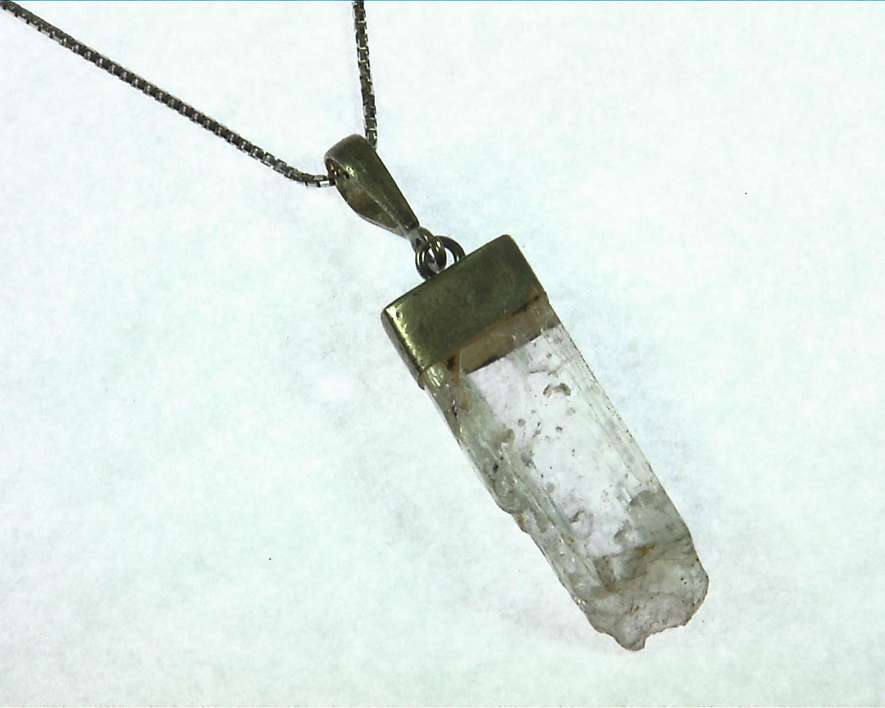 Kunzite natural genuine Crystal Pendant in Silver PSS,1016 3