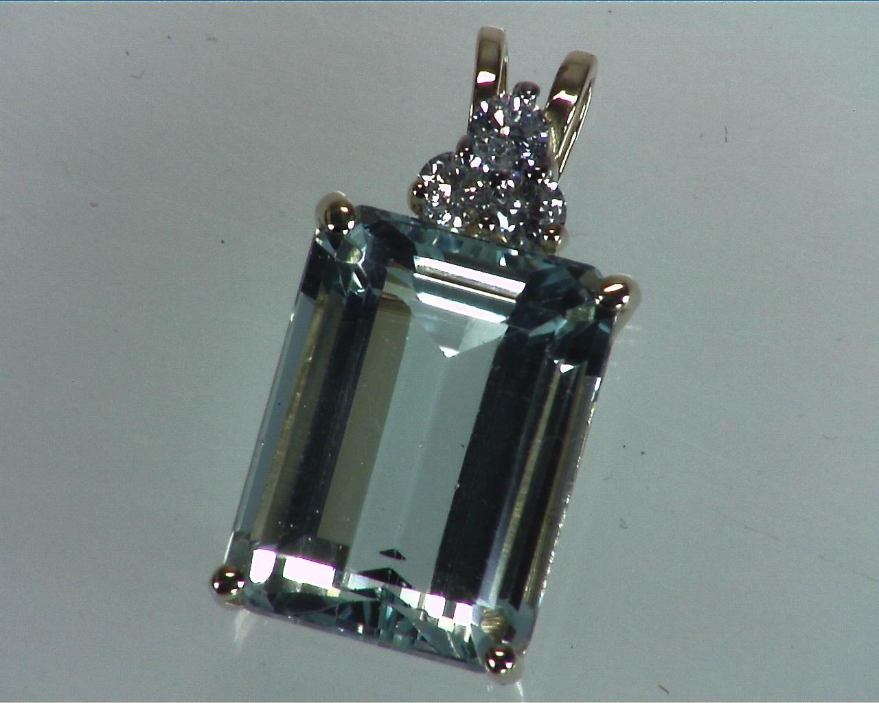 Aquamarine Natural Genuine Gemstone Set in Gold with Diamonds 4