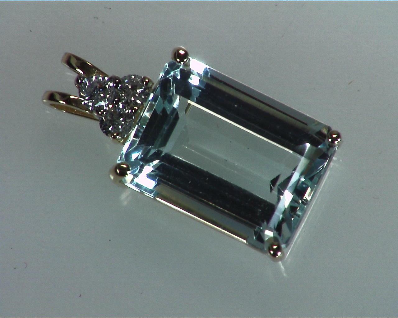 Aquamarine Natural Genuine Gemstone Set in Gold with Diamonds 5