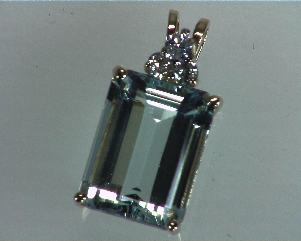 Aquamarine Natural Genuine Gemstone Set in Gold with Diamonds 7