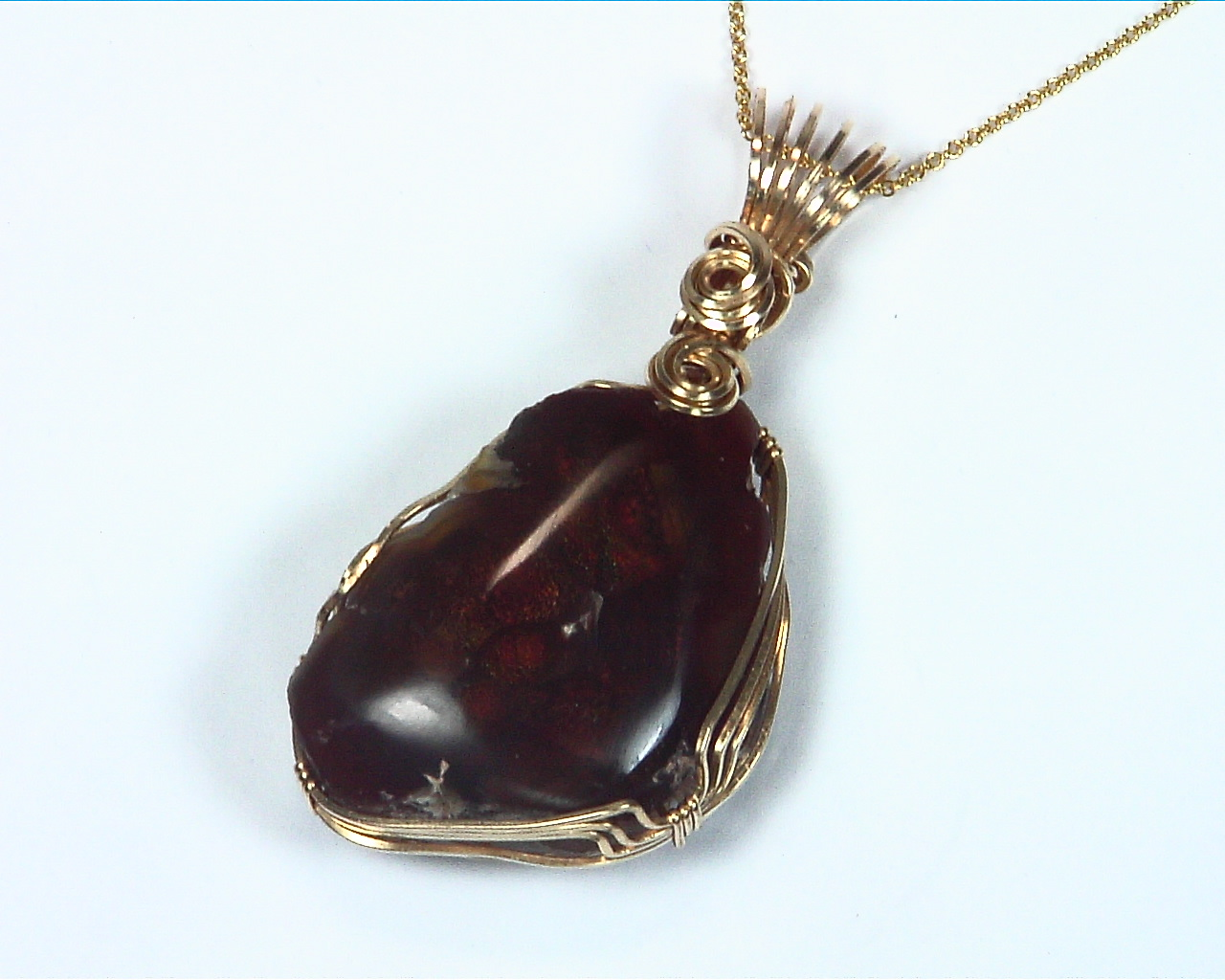 Fire Agate Natural Genuine Gemstone 14 kt yellow Gold Filled Pendent NFG,981 3