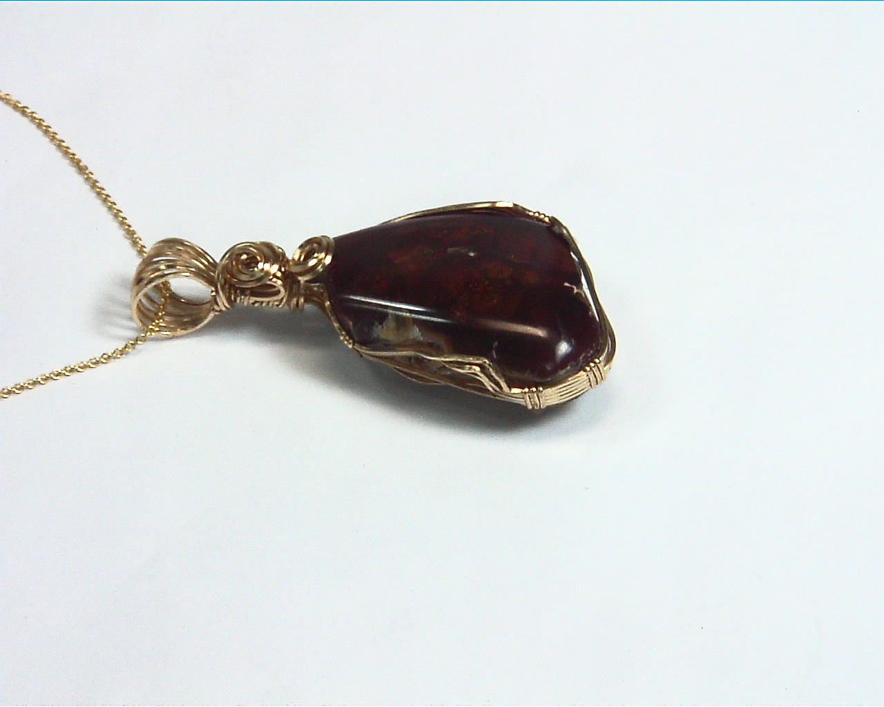 Fire Agate Natural Genuine Gemstone 14 kt yellow Gold Filled Pendent NFG,981 4