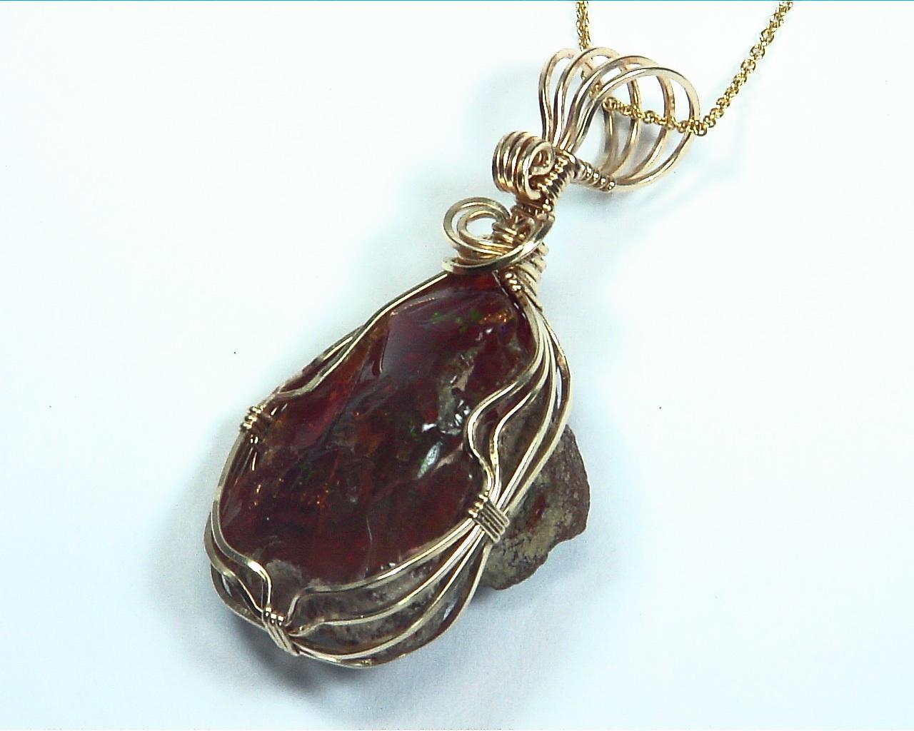 Opal (Ethiopian Black) Natural Genuine Gemstone Pendent, NFG982 2